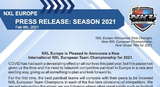 NXL Europe 2021 kahteen turnaukseen